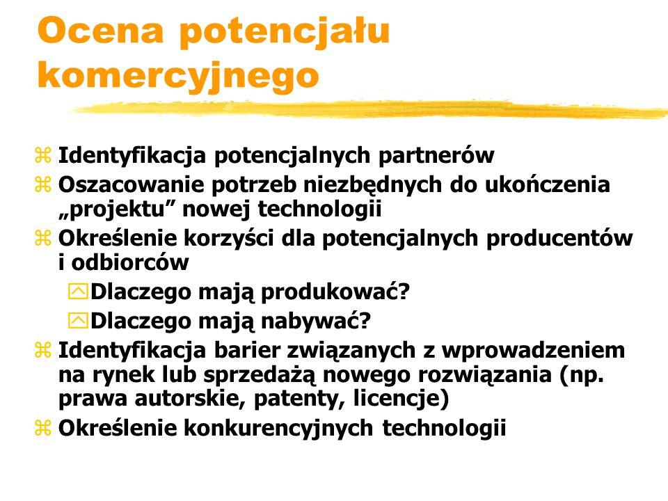 """Ocena potencjału komercyjnego zIdentyfikacja potencjalnych partnerów zOszacowanie potrzeb niezbędnych do ukończenia """"projektu nowej technologii zOkreślenie korzyści dla potencjalnych producentów i odbiorców yDlaczego mają produkować."""