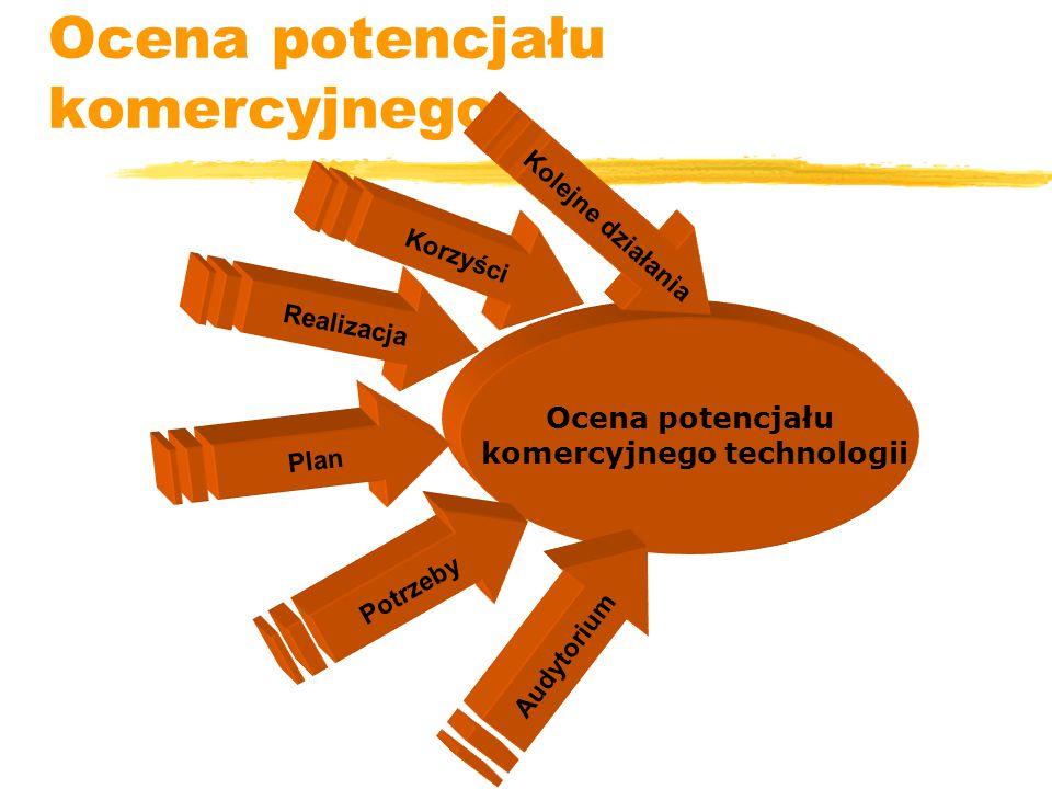 Ocena potencjału komercyjnego Ocena potencjału komercyjnego technologii Audytorium Potrzeby Plan Realizacja Korzyści Kolejne działania