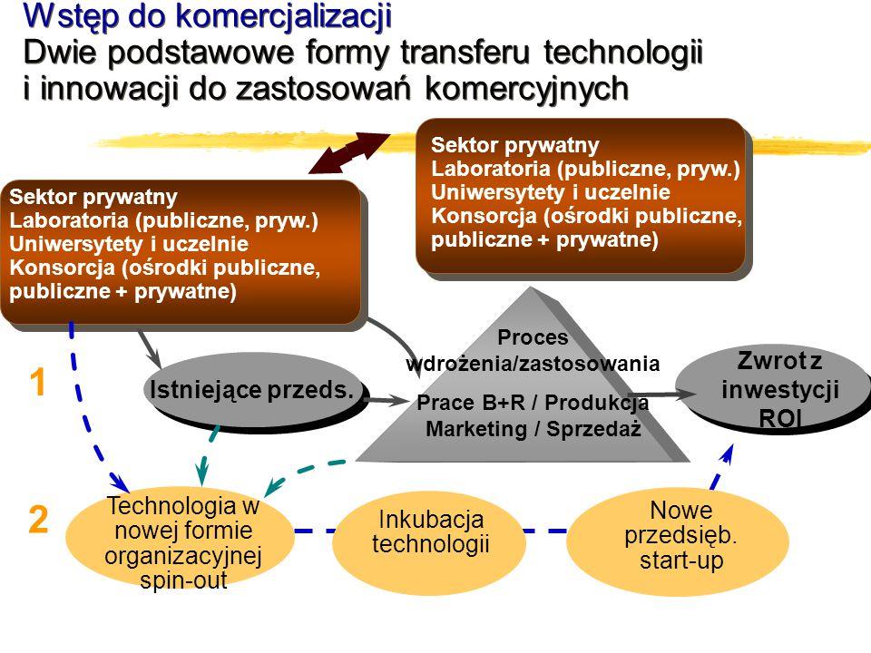 Sektor prywatny Laboratoria (publiczne, pryw.) Uniwersytety i uczelnie Konsorcja (ośrodki publiczne, publiczne + prywatne) Istniejące przeds. Proces w
