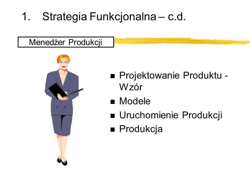 1.Strategia Funkcjonalna – c.d. Menedżer Produkcji n Projektowanie Produktu - Wzór n Modele n Uruchomienie Produkcji n Produkcja