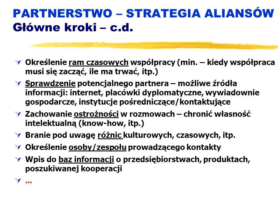PARTNERSTWO – STRATEGIA ALIANSÓW Główne kroki – c.d.  Określenie ram czasowych współpracy (min. – kiedy współpraca musi się zacząć, ile ma trwać, itp
