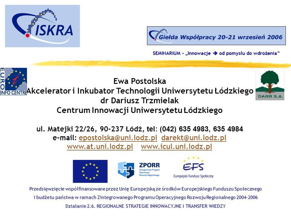 Ewa Postolska Akcelerator i Inkubator Technologii Uniwersytetu Łódzkiego dr Dariusz Trzmielak Centrum Innowacji Uniwersytetu Łódzkiego ul.