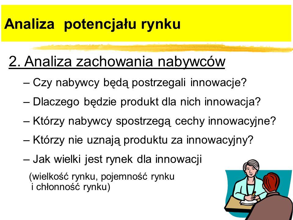 2. Analiza zachowania nabywców – Czy nabywcy będą postrzegali innowacje? – Dlaczego będzie produkt dla nich innowacja? – Którzy nabywcy spostrzegą cec