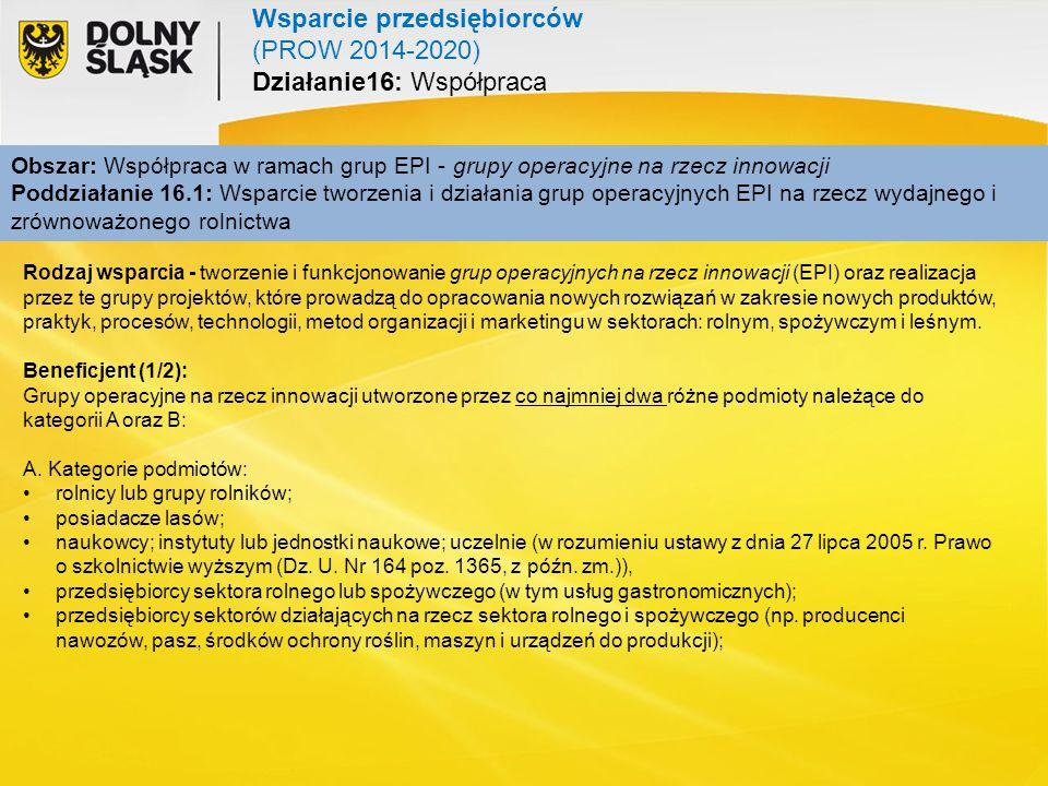 Obszar: Współpraca w ramach grup EPI - grupy operacyjne na rzecz innowacji Poddziałanie 16.1: Wsparcie tworzenia i działania grup operacyjnych EPI na