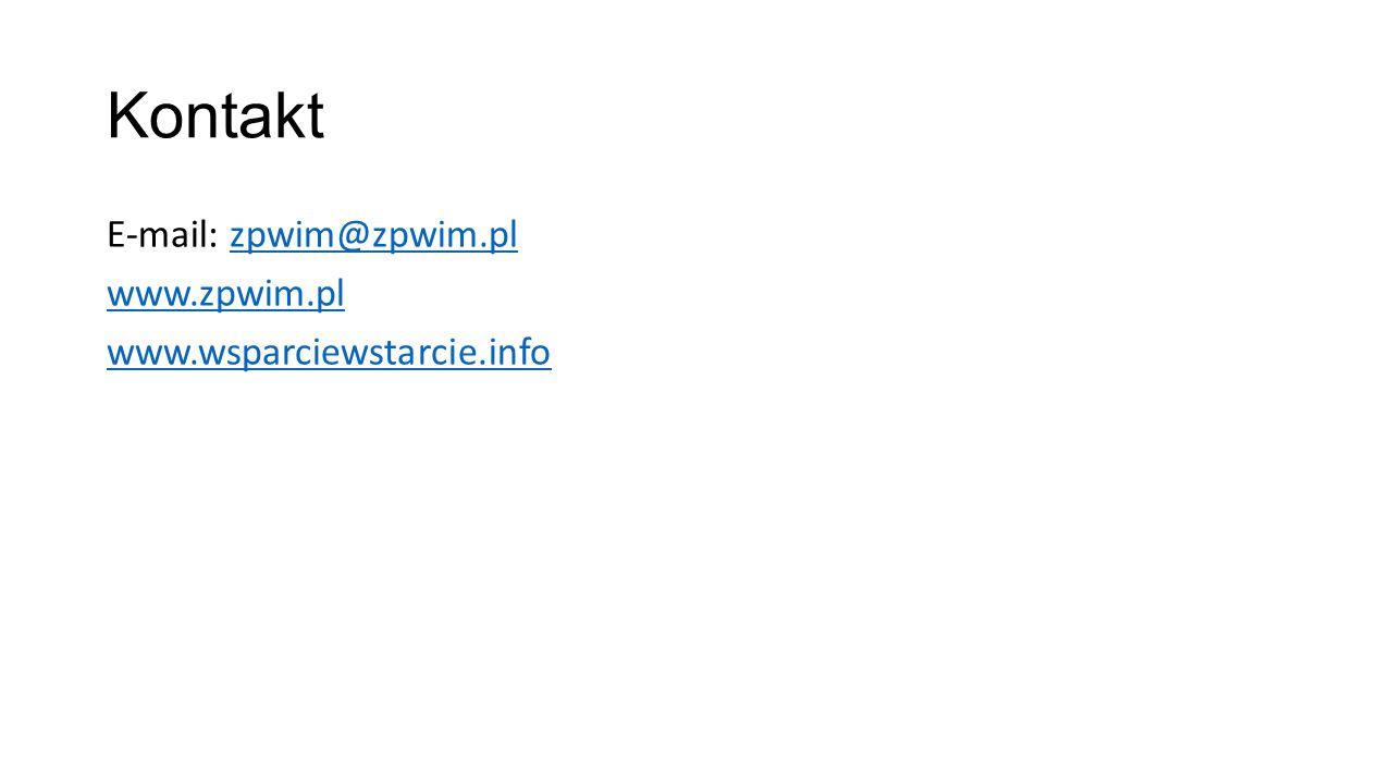 Kontakt E-mail: zpwim@zpwim.plzpwim@zpwim.pl www.zpwim.pl www.wsparciewstarcie.info