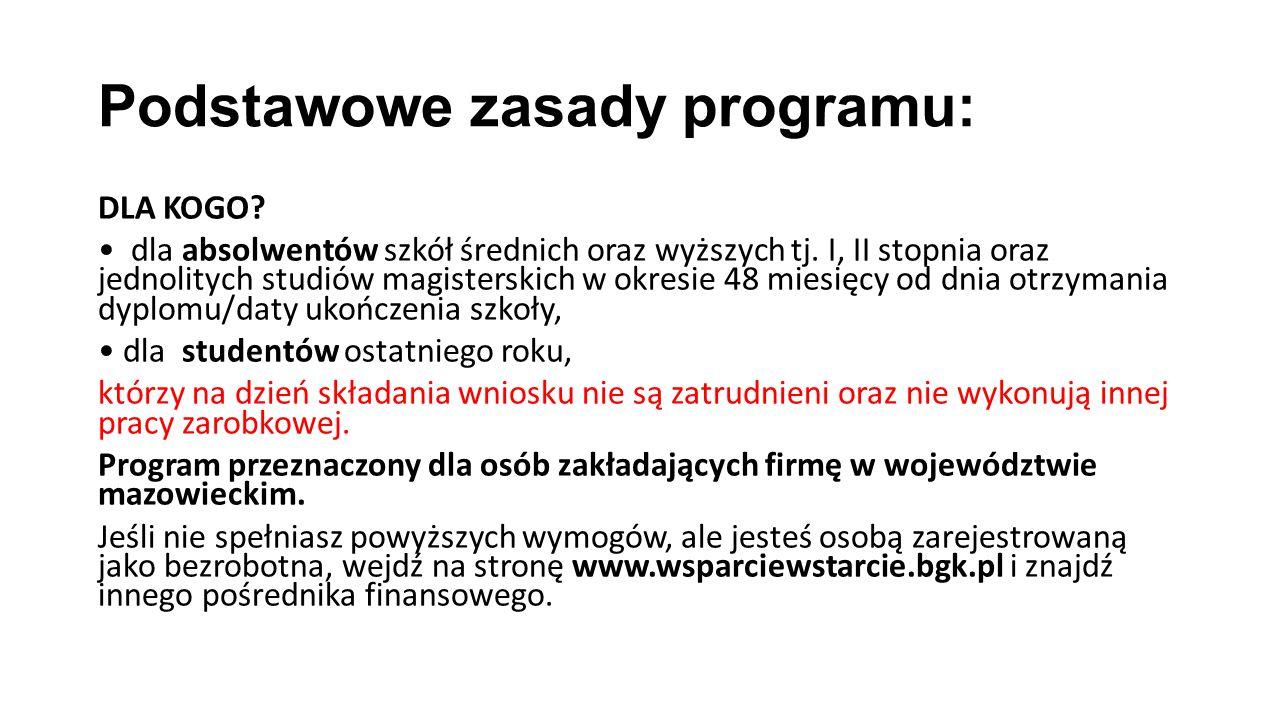 Podstawowe zasady programu: DLA KOGO. dla absolwentów szkół średnich oraz wyższych tj.