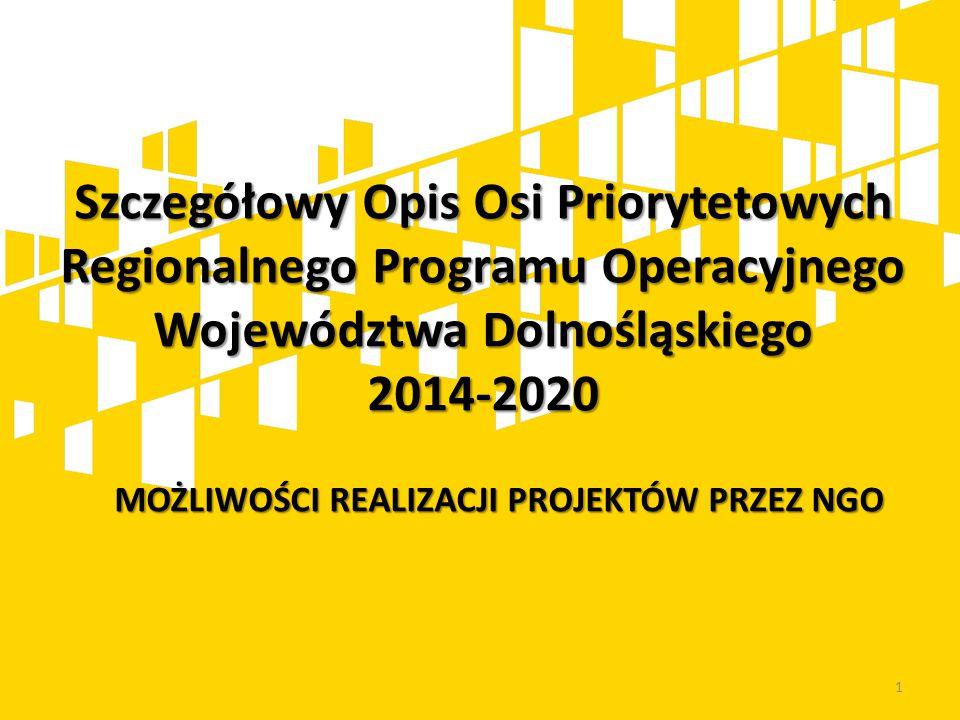 Szczegółowy Opis Osi Priorytetowych Regionalnego Programu Operacyjnego Województwa Dolnośląskiego 2014-2020 1 MOŻLIWOŚCI REALIZACJI PROJEKTÓW PRZEZ NG