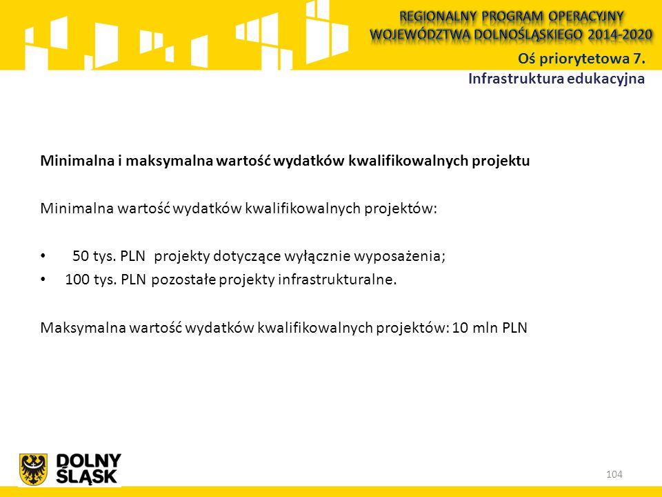 Minimalna i maksymalna wartość wydatków kwalifikowalnych projektu Minimalna wartość wydatków kwalifikowalnych projektów: 50 tys. PLN projekty dotycząc