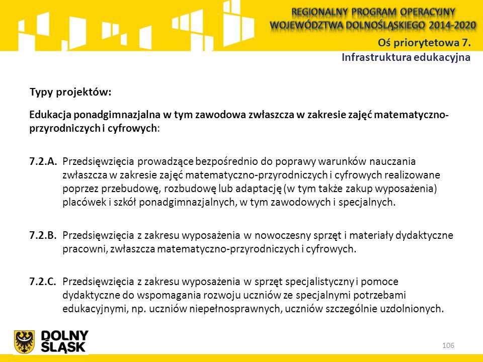 Edukacja ponadgimnazjalna w tym zawodowa zwłaszcza w zakresie zajęć matematyczno- przyrodniczych i cyfrowych: 7.2.A.Przedsięwzięcia prowadzące bezpośr