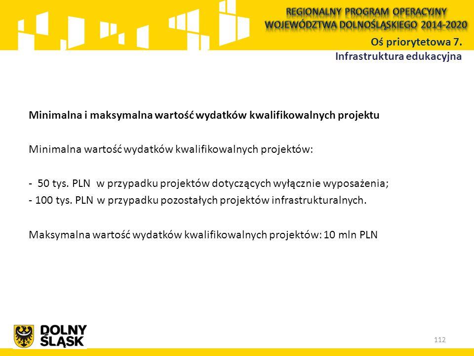 Minimalna i maksymalna wartość wydatków kwalifikowalnych projektu Minimalna wartość wydatków kwalifikowalnych projektów: - 50 tys. PLN w przypadku pro