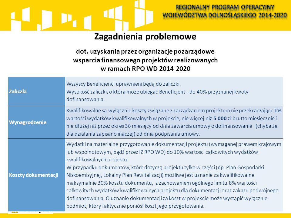113 Zagadnienia problemowe dot. uzyskania przez organizacje pozarządowe wsparcia finansowego projektów realizowanych w ramach RPO WD 2014-2020 Zaliczk