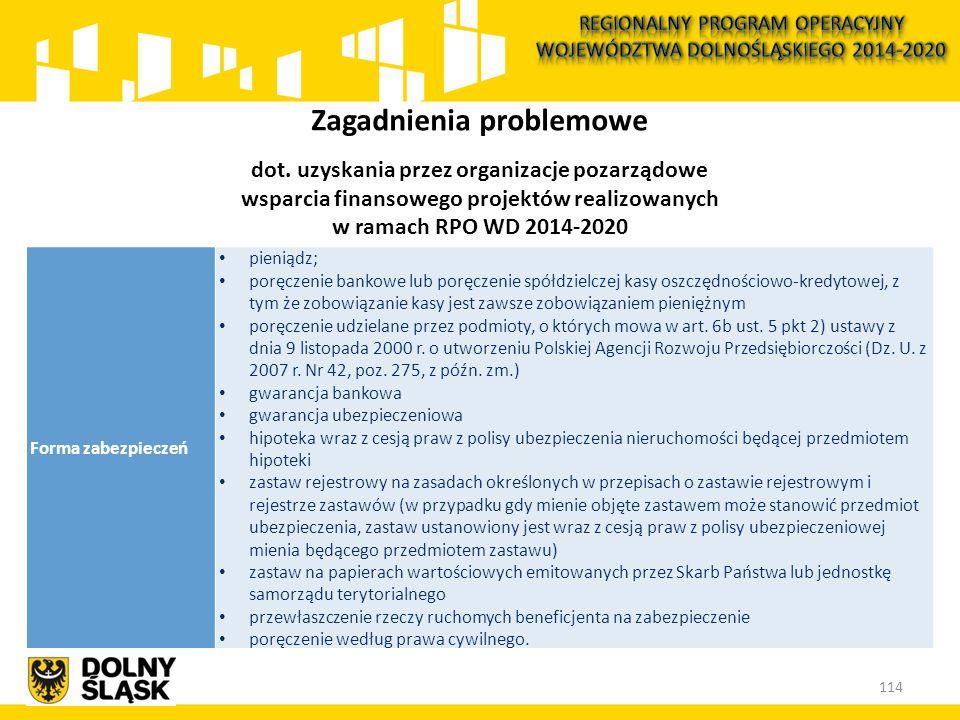 114 Zagadnienia problemowe dot. uzyskania przez organizacje pozarządowe wsparcia finansowego projektów realizowanych w ramach RPO WD 2014-2020 Forma z
