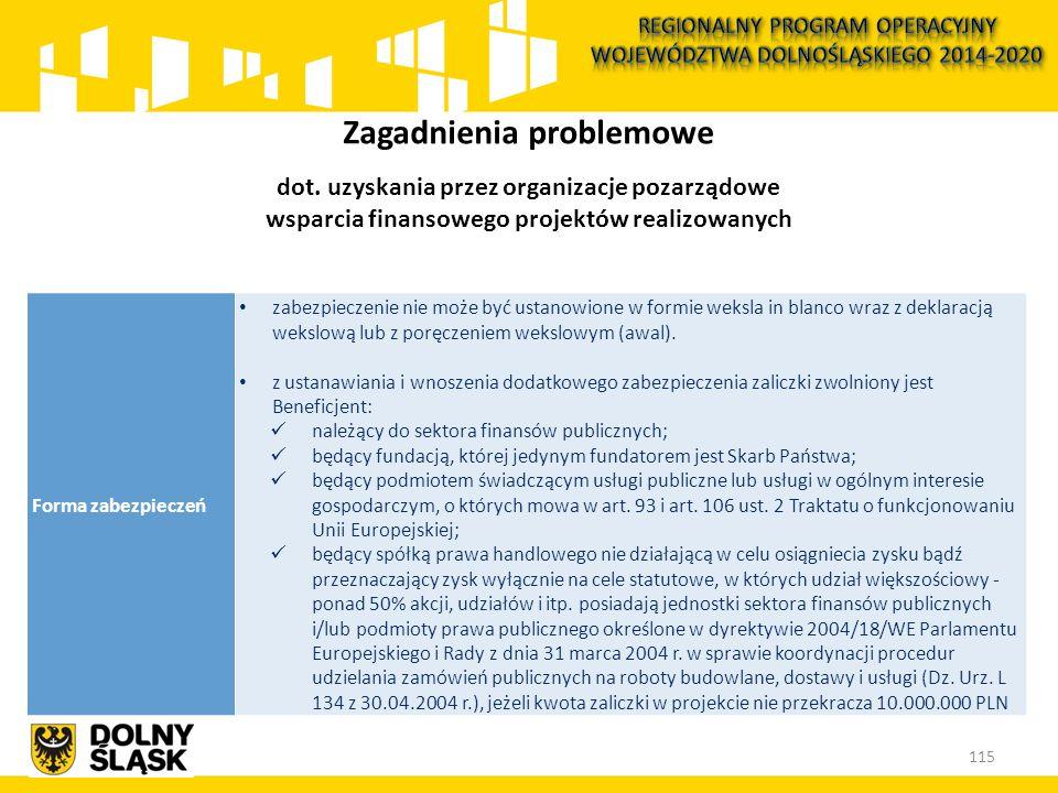 115 Zagadnienia problemowe dot. uzyskania przez organizacje pozarządowe wsparcia finansowego projektów realizowanych Forma zabezpieczeń zabezpieczenie