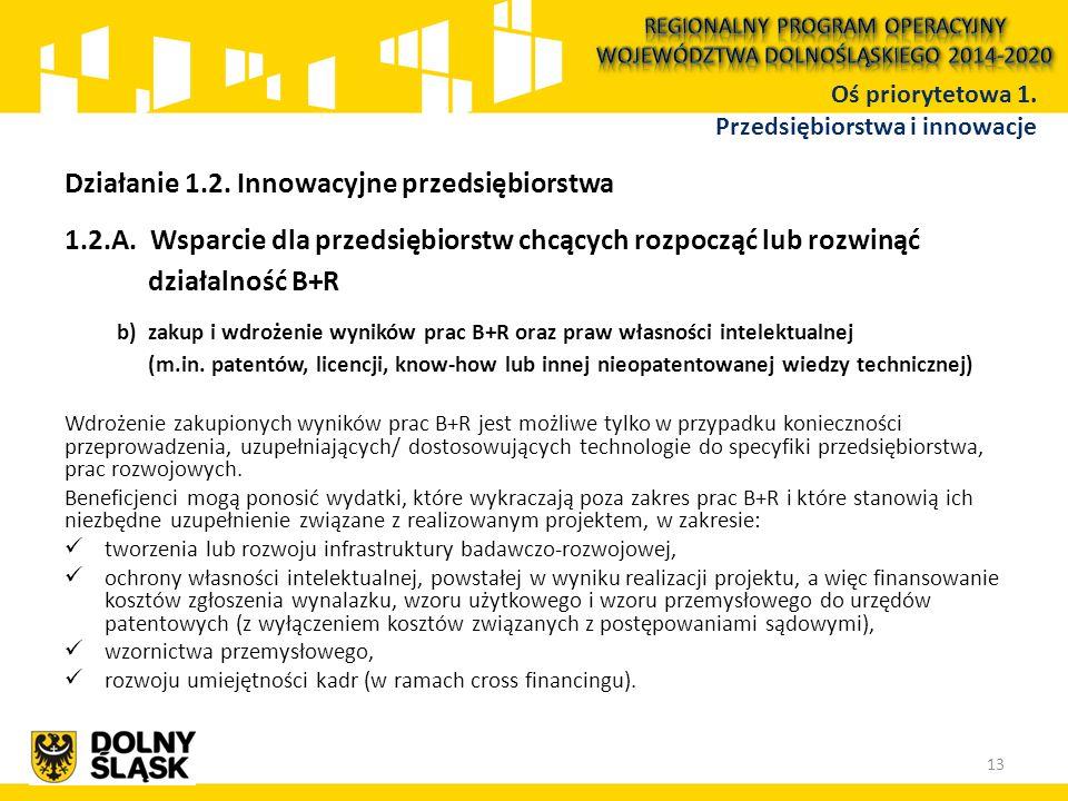Działanie 1.2. Innowacyjne przedsiębiorstwa 1.2.A. Wsparcie dla przedsiębiorstw chcących rozpocząć lub rozwinąć działalność B+R b)zakup i wdrożenie wy