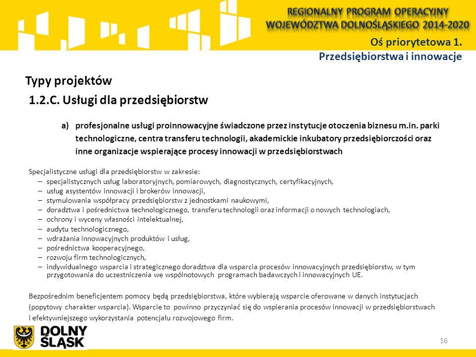 1.2.C. Usługi dla przedsiębiorstw a) profesjonalne usługi proinnowacyjne świadczone przez instytucje otoczenia biznesu m.in. parki technologiczne, cen