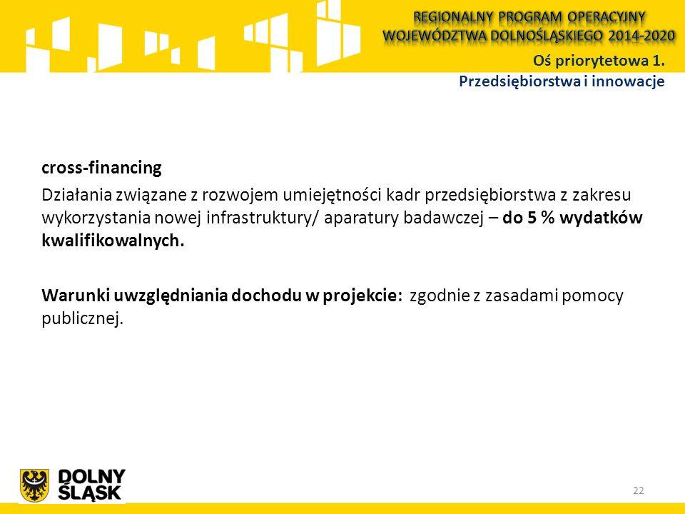 cross-financing Działania związane z rozwojem umiejętności kadr przedsiębiorstwa z zakresu wykorzystania nowej infrastruktury/ aparatury badawczej – do 5 % wydatków kwalifikowalnych.