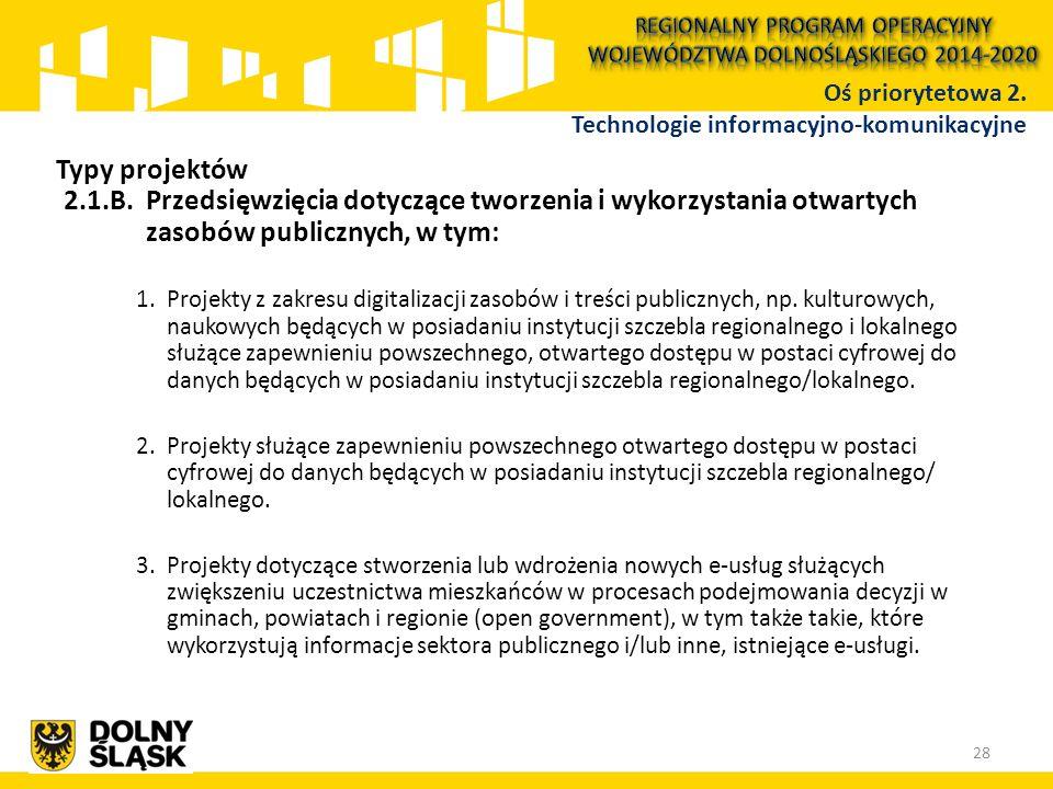 2.1.B.Przedsięwzięcia dotyczące tworzenia i wykorzystania otwartych zasobów publicznych, w tym: 1.Projekty z zakresu digitalizacji zasobów i treści publicznych, np.