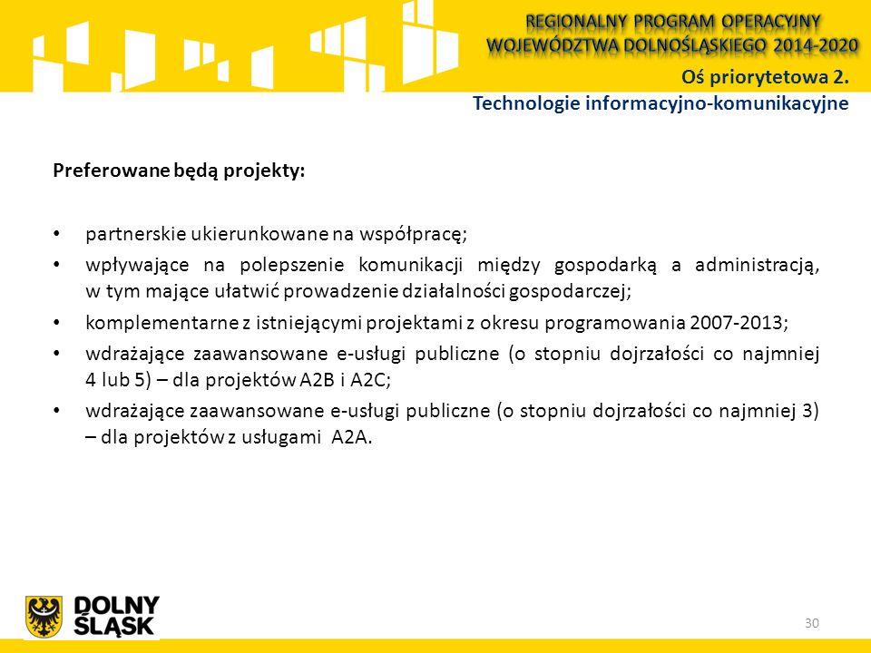 Preferowane będą projekty: partnerskie ukierunkowane na współpracę; wpływające na polepszenie komunikacji między gospodarką a administracją, w tym mające ułatwić prowadzenie działalności gospodarczej; komplementarne z istniejącymi projektami z okresu programowania 2007-2013; wdrażające zaawansowane e-usługi publiczne (o stopniu dojrzałości co najmniej 4 lub 5) – dla projektów A2B i A2C; wdrażające zaawansowane e-usługi publiczne (o stopniu dojrzałości co najmniej 3) – dla projektów z usługami A2A.