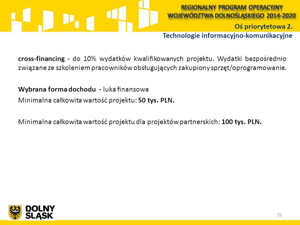 cross-financing - do 10% wydatków kwalifikowanych projektu. Wydatki bezpośrednio związane ze szkoleniem pracowników obsługujących zakupiony sprzęt/opr