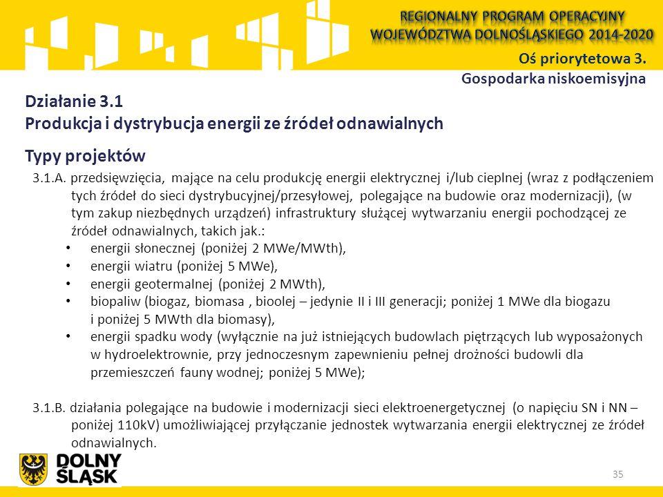Typy projektów 3.1.A. przedsięwzięcia, mające na celu produkcję energii elektrycznej i/lub cieplnej (wraz z podłączeniem tych źródeł do sieci dystrybu