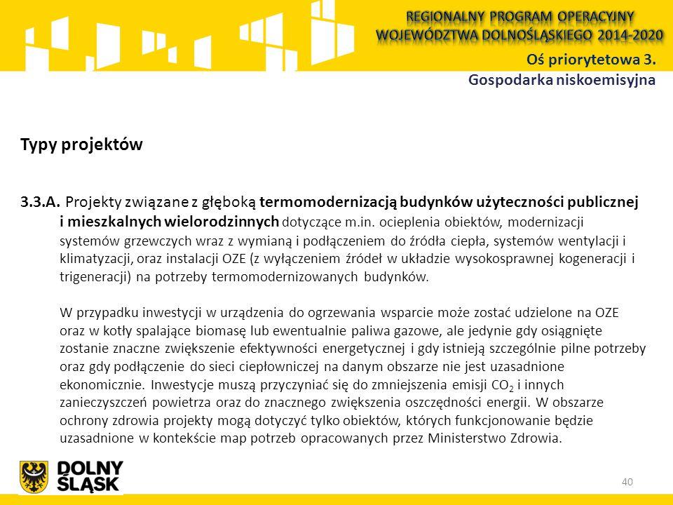 Typy projektów 3.3.A. Projekty związane z głęboką termomodernizacją budynków użyteczności publicznej i mieszkalnych wielorodzinnych dotyczące m.in. oc