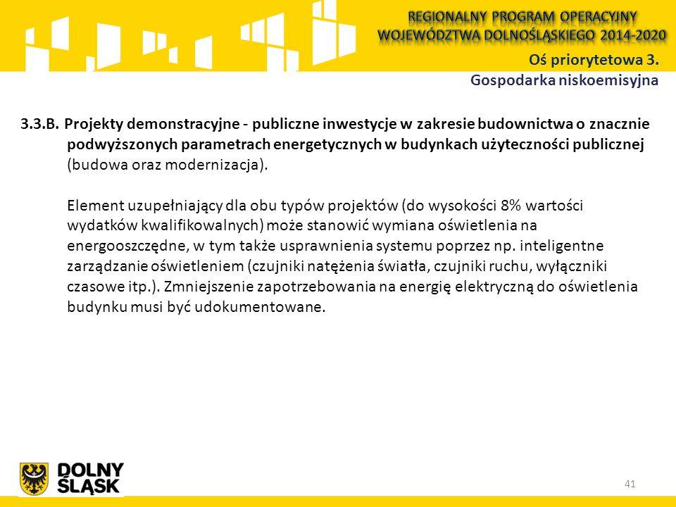 3.3.B. Projekty demonstracyjne - publiczne inwestycje w zakresie budownictwa o znacznie podwyższonych parametrach energetycznych w budynkach użyteczno