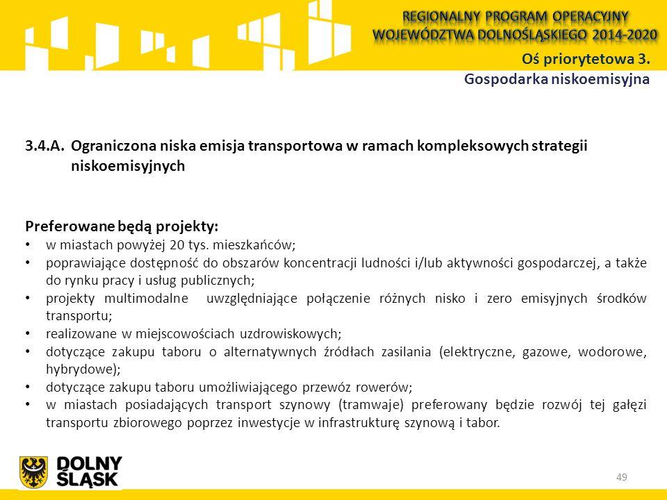 3.4.A.Ograniczona niska emisja transportowa w ramach kompleksowych strategii niskoemisyjnych Preferowane będą projekty: w miastach powyżej 20 tys. mie