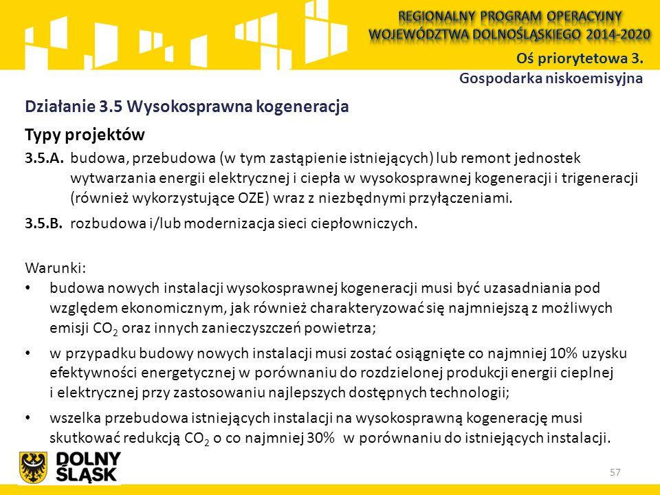 Typy projektów 3.5.A. budowa, przebudowa (w tym zastąpienie istniejących) lub remont jednostek wytwarzania energii elektrycznej i ciepła w wysokospraw