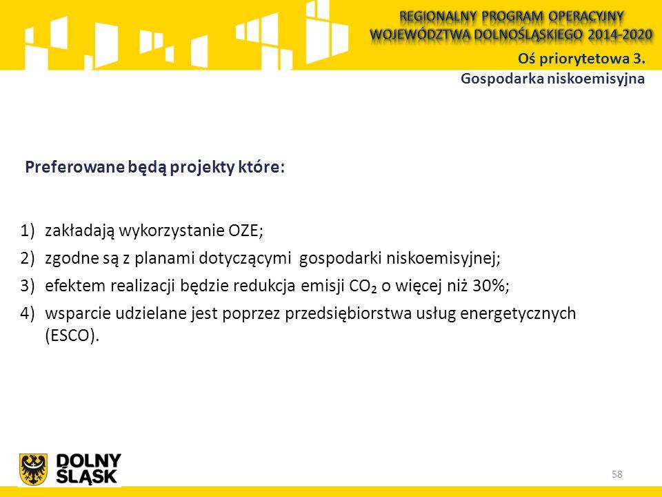 Preferowane będą projekty które: 1)zakładają wykorzystanie OZE; 2)zgodne są z planami dotyczącymi gospodarki niskoemisyjnej; 3)efektem realizacji będzie redukcja emisji CO₂ o więcej niż 30%; 4)wsparcie udzielane jest poprzez przedsiębiorstwa usług energetycznych (ESCO).