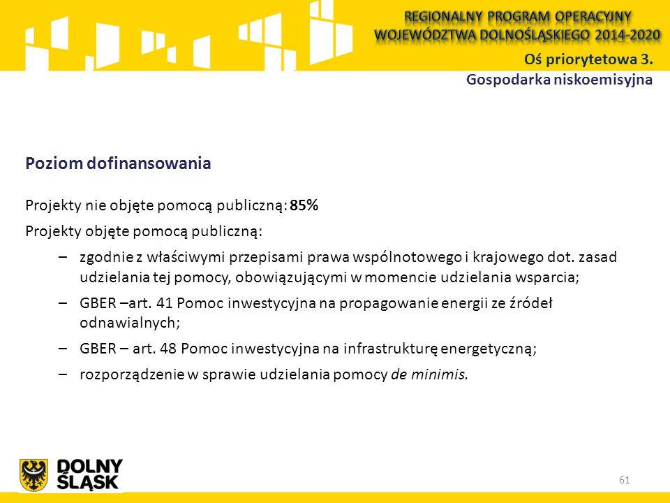 Poziom dofinansowania Projekty nie objęte pomocą publiczną: 85% Projekty objęte pomocą publiczną: –zgodnie z właściwymi przepisami prawa wspólnotowego i krajowego dot.