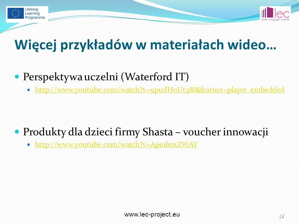 www.lec-project.eu Więcej przykładów w materiałach wideo… 13 Perspektywa uczelni (Waterford IT) http://www.youtube.com/watch v=9pudH0Ut38I&feature=player_embedded Produkty dla dzieci firmy Shasta – voucher innowacji http://www.youtube.com/watch v=Ape1boxZWAY