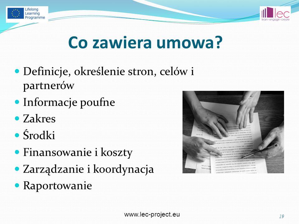 www.lec-project.eu Co zawiera umowa.