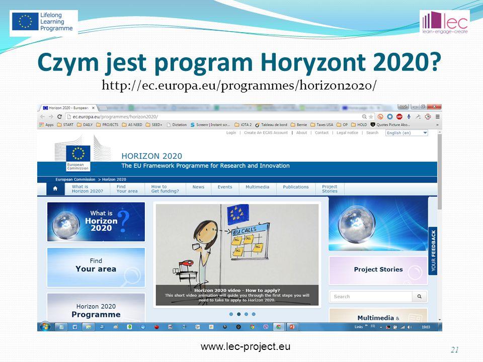 www.lec-project.eu Czym jest program Horyzont 2020 http://ec.europa.eu/programmes/horizon2020/ 21