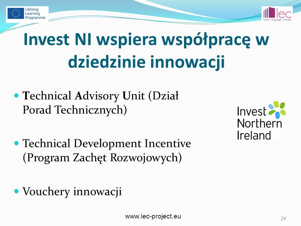www.lec-project.eu Invest NI wspiera współpracę w dziedzinie innowacji Technical Advisory Unit (Dział Porad Technicznych) Technical Development Incentive (Program Zachęt Rozwojowych) Vouchery innowacji 24