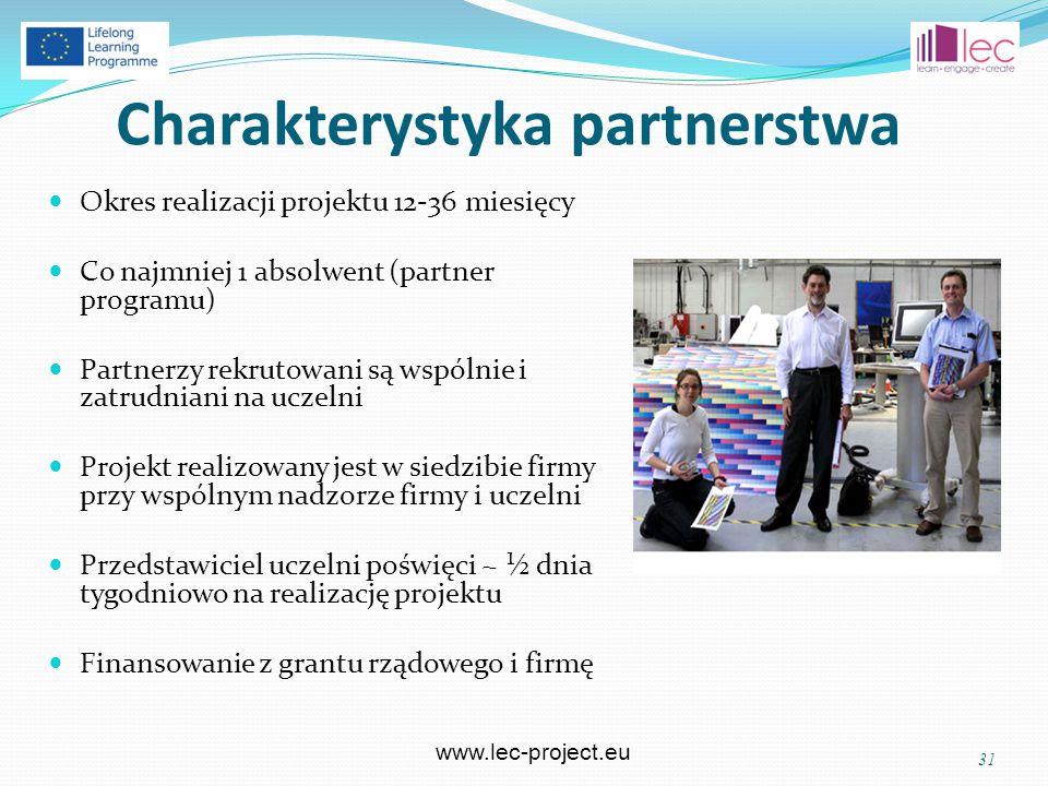 www.lec-project.eu Charakterystyka partnerstwa Okres realizacji projektu 12-36 miesięcy Co najmniej 1 absolwent (partner programu) Partnerzy rekrutowani są wspólnie i zatrudniani na uczelni Projekt realizowany jest w siedzibie firmy przy wspólnym nadzorze firmy i uczelni Przedstawiciel uczelni poświęci ~ ½ dnia tygodniowo na realizację projektu Finansowanie z grantu rządowego i firmę 31