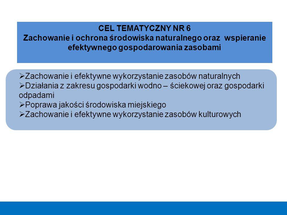  Zachowanie i efektywne wykorzystanie zasobów naturalnych  Działania z zakresu gospodarki wodno – ściekowej oraz gospodarki odpadami  Poprawa jakoś