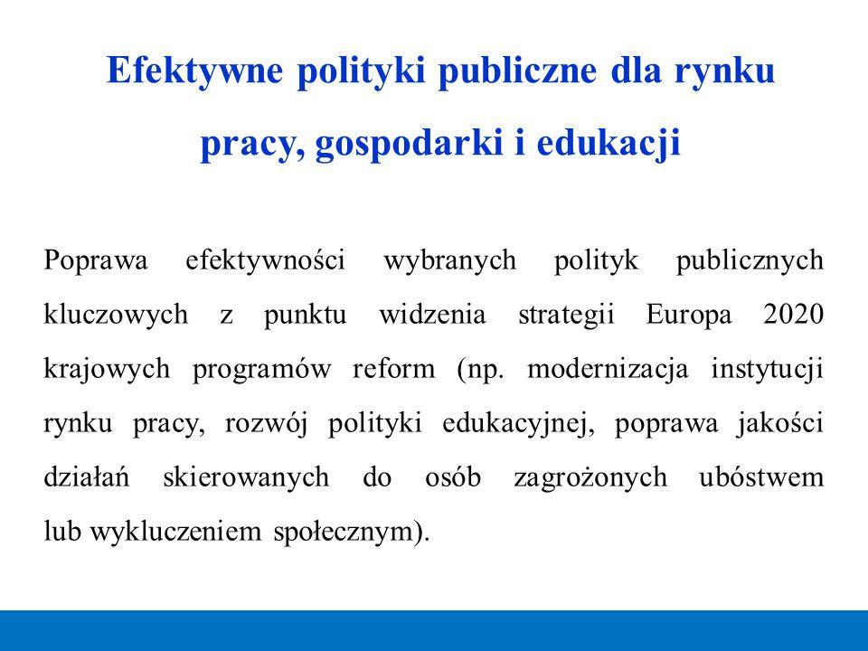Efektywne polityki publiczne dla rynku pracy, gospodarki i edukacji Poprawa efektywności wybranych polityk publicznych kluczowych z punktu widzenia st