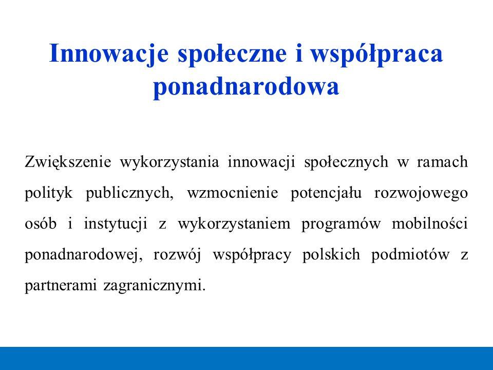 Innowacje społeczne i współpraca ponadnarodowa Zwiększenie wykorzystania innowacji społecznych w ramach polityk publicznych, wzmocnienie potencjału ro