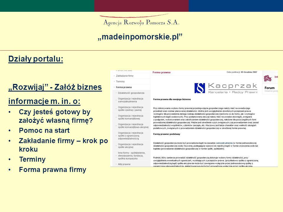 """Działy portalu: """"Pomorze Region Informacje ogólne Gospodarka Transport Edukacja Rynek pracy """" madeinpomorskie.pl"""