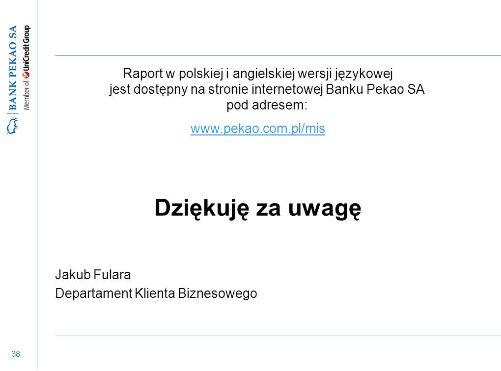 38 Raport w polskiej i angielskiej wersji językowej jest dostępny na stronie internetowej Banku Pekao SA pod adresem: www.pekao.com.pl/mis Dziękuję za