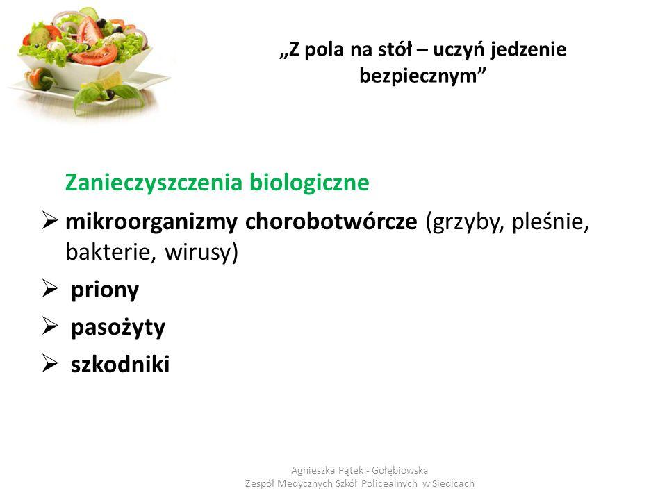 """""""Z pola na stół – uczyń jedzenie bezpiecznym"""" Zanieczyszczenia biologiczne  mikroorganizmy chorobotwórcze (grzyby, pleśnie, bakterie, wirusy)  prion"""