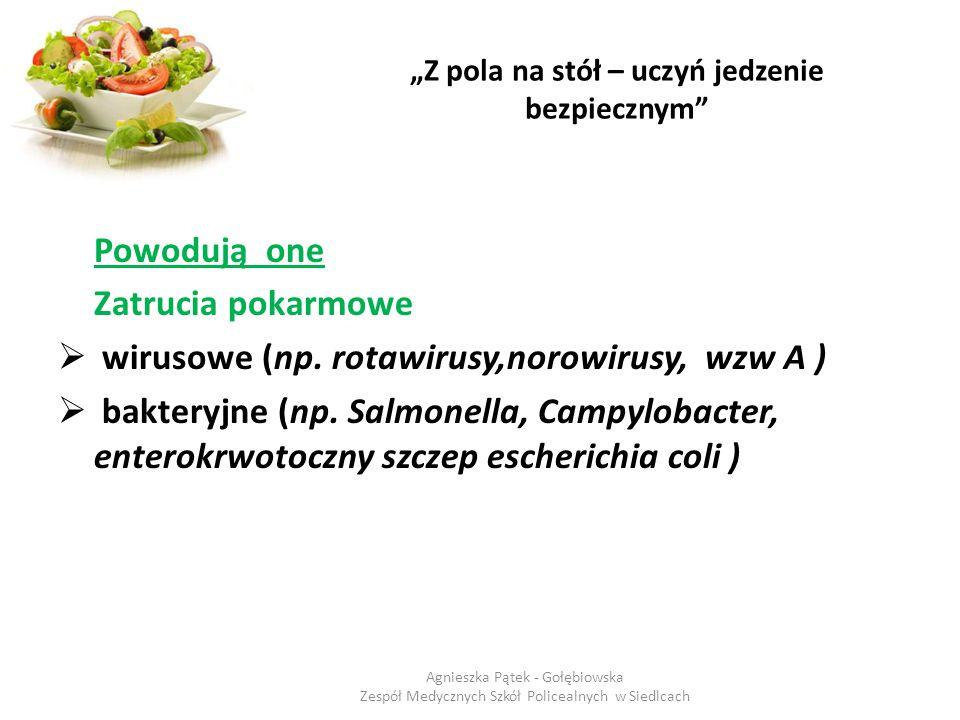 """""""Z pola na stół – uczyń jedzenie bezpiecznym"""" Powodują one Zatrucia pokarmowe  wirusowe (np. rotawirusy,norowirusy, wzw A )  bakteryjne (np. Salmone"""