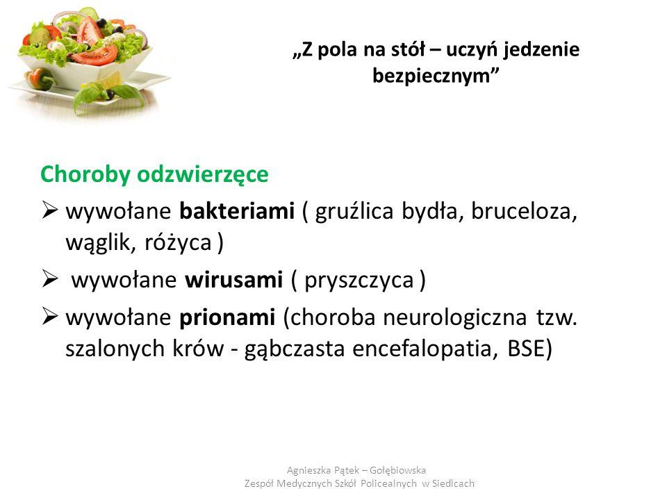 """""""Z pola na stół – uczyń jedzenie bezpiecznym"""" Choroby odzwierzęce  wywołane bakteriami ( gruźlica bydła, bruceloza, wąglik, różyca )  wywołane wirus"""