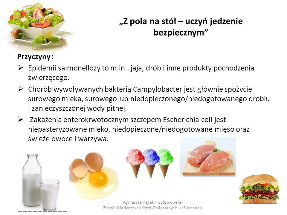 """""""Z pola na stół – uczyń jedzenie bezpiecznym"""" Przyczyny :  Epidemii salmonellozy to m.in.. jaja, drób i inne produkty pochodzenia zwierzęcego.  Chor"""
