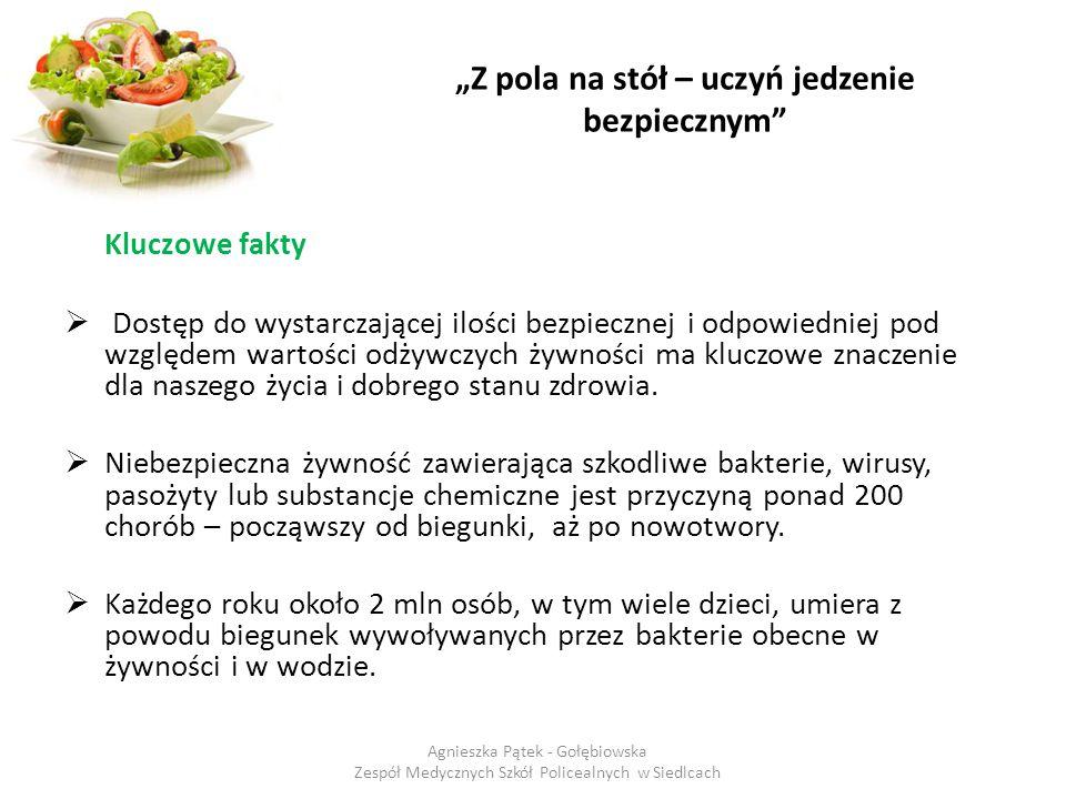 """""""Z pola na stół – uczyń jedzenie bezpiecznym Zwracaj uwagę na sposób oferowania do sprzedaży produktów spożywczych – ich wygląd, zapach, smak oraz oznakowanie (data minimalnej trwałości lub termin przydatności do spożycia, warunki przechowywania, skład )."""
