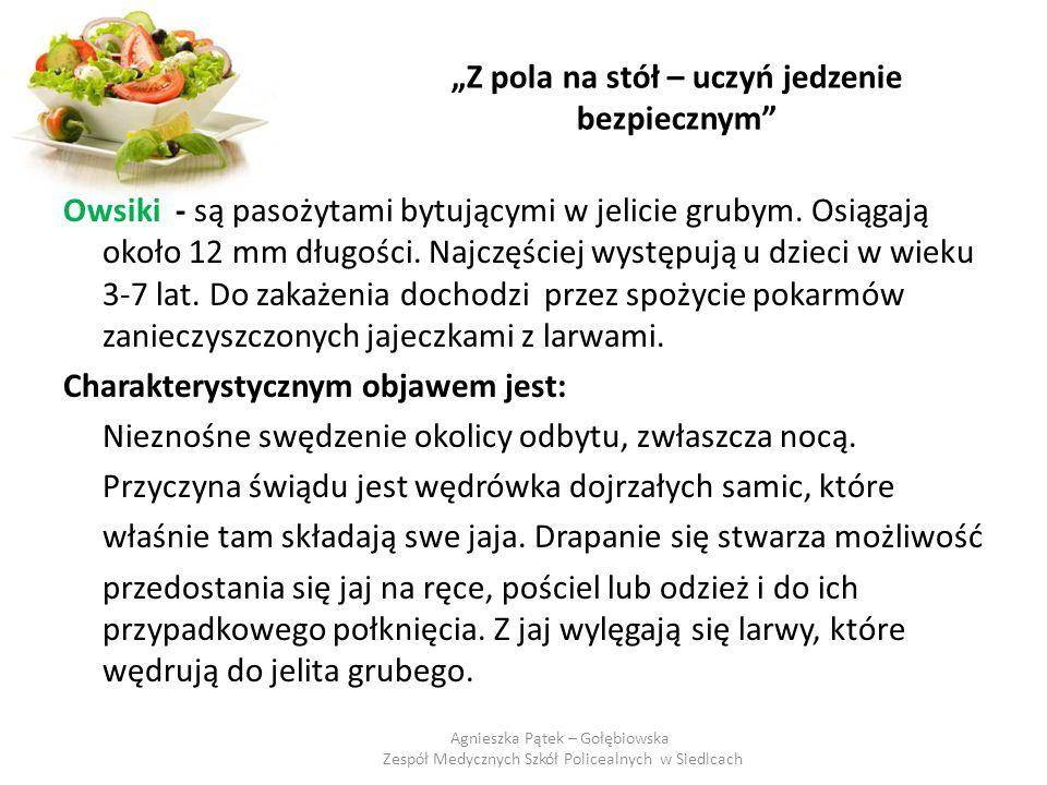 """""""Z pola na stół – uczyń jedzenie bezpiecznym"""" Owsiki - są pasożytami bytującymi w jelicie grubym. Osiągają około 12 mm długości. Najczęściej występują"""
