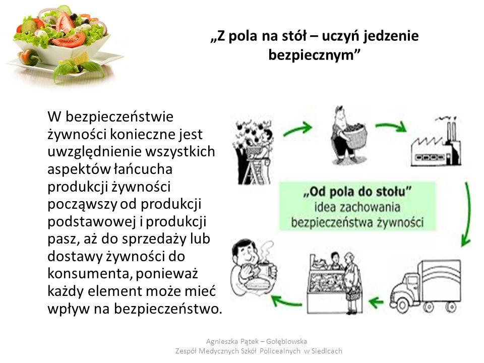"""""""Z pola na stół – uczyń jedzenie bezpiecznym Żywność podczas wielu etapów, by trafić ostateczne na stół, narażona jest na działanie różnych czynników: chemicznych, fizycznych i biologicznych."""