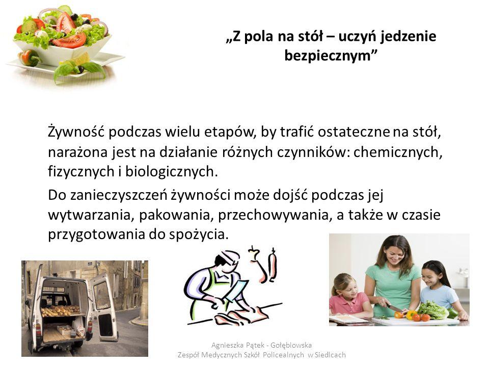 """""""Z pola na stół – uczyń jedzenie bezpiecznym Zanieczyszczenia żywności to substancje lub organizmy, które są obecne w żywności na skutek zanieczyszczenia środowiska w następstwie procesu produkcyjnego lub nieprawidłowości w obrocie."""