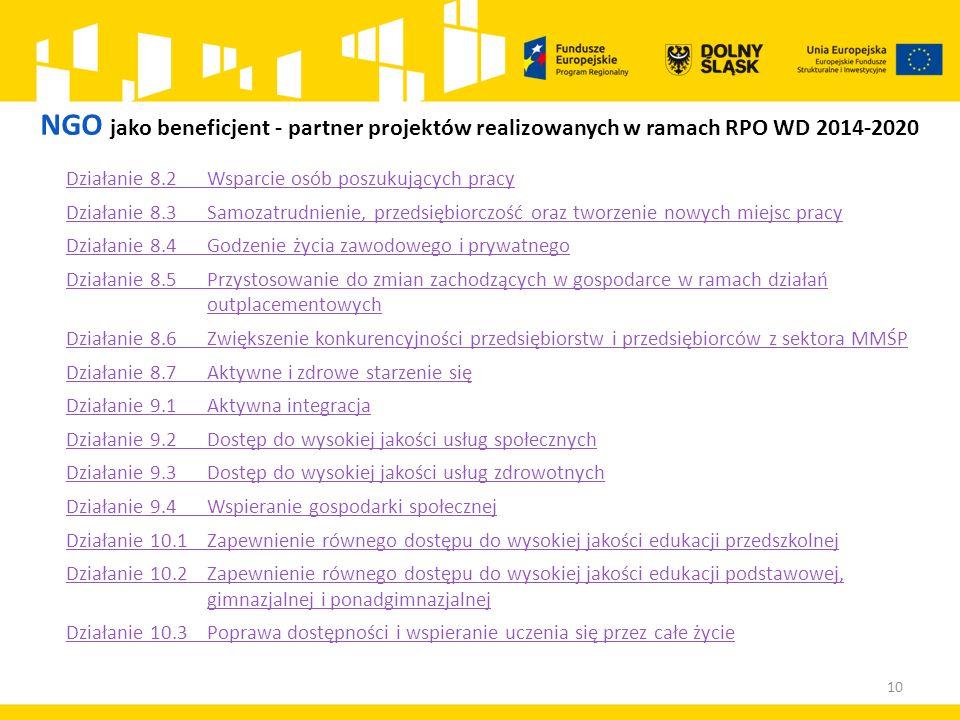 NGO jako beneficjent - partner projektów realizowanych w ramach RPO WD 2014-2020 Działanie 8.2 Wsparcie osób poszukujących pracy Działanie 8.3 Samozatrudnienie, przedsiębiorczość oraz tworzenie nowych miejsc pracy Działanie 8.4 Godzenie życia zawodowego i prywatnego Działanie 8.5 Przystosowanie do zmian zachodzących w gospodarce w ramach działań outplacementowych Działanie 8.6 Zwiększenie konkurencyjności przedsiębiorstw i przedsiębiorców z sektora MMŚP Działanie 8.7 Aktywne i zdrowe starzenie się Działanie 9.1 Aktywna integracja Działanie 9.2 Dostęp do wysokiej jakości usług społecznych Działanie 9.3 Dostęp do wysokiej jakości usług zdrowotnych Działanie 9.4 Wspieranie gospodarki społecznej Działanie 10.1 Zapewnienie równego dostępu do wysokiej jakości edukacji przedszkolnej Działanie 10.2 Zapewnienie równego dostępu do wysokiej jakości edukacji podstawowej, gimnazjalnej i ponadgimnazjalnej Działanie 10.3Poprawa dostępności i wspieranie uczenia się przez całe życie 10