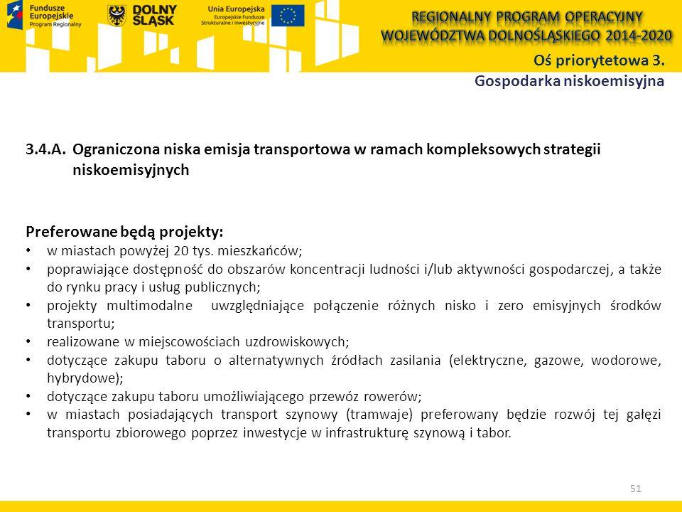 3.4.A.Ograniczona niska emisja transportowa w ramach kompleksowych strategii niskoemisyjnych Preferowane będą projekty: w miastach powyżej 20 tys.